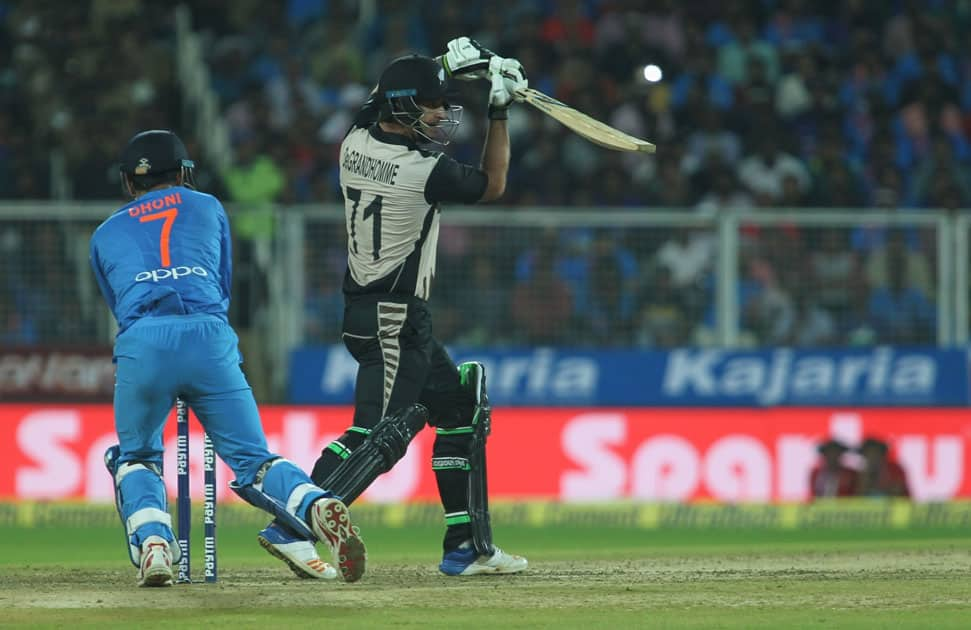 Colin de Grandhomme of New Zealand in action during the third and final T20 International match between India and New Zealand
