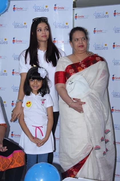 Actress Aishwarya Rai Bachchan along with her mother Brindya Rai and daughter Aaradhya Bachchan celebrates her father Krishnaraj Rai's birth anniversary at Shushrusha Hospital, in Mumbai.