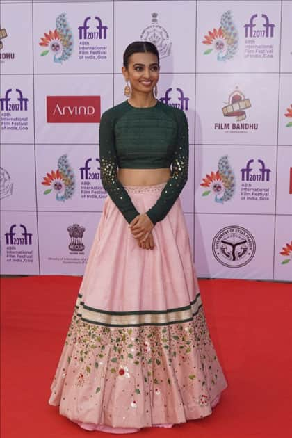 Actress Radhika Apte during the opening ceremony of 48th edition of International Film Festival of India (IFFI) in Goa.