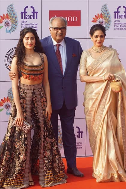 Actress Sridevi along with her husband Boney Kapoor and daughter Janhvi Kapoor during the opening ceremony of 48th edition of International Film Festival of India (IFFI) in Goa.