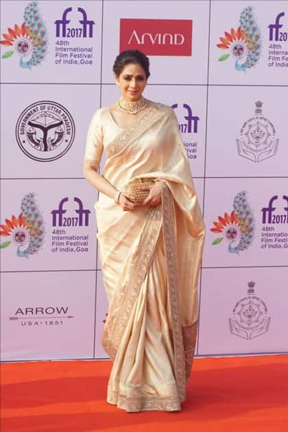 Actress Sridevi during the opening ceremony of 48th edition of International Film Festival of India (IFFI) in Goa.
