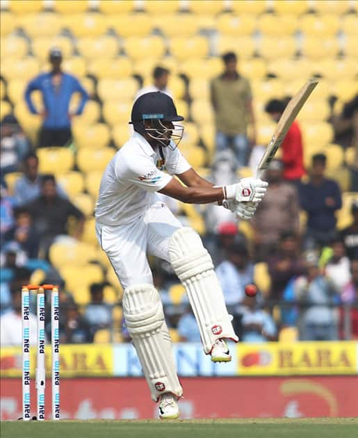 Dinesh Chandimal of Sri Lanka in action on Day 1 of the second test match between India and Sri Lanka at Vidarbha Cricket Association Stadium in Nagpur.