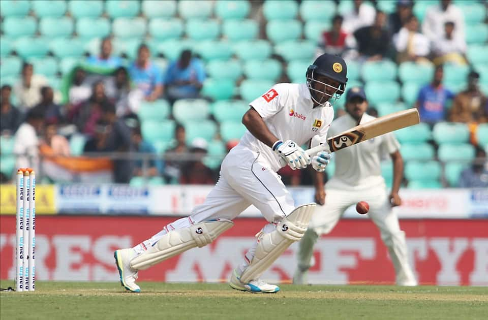Dimuth Karunaratne of Sri Lanka in action on Day 1 of the second test match between India and Sri Lanka at Vidarbha Cricket Association Stadium in Nagpur.