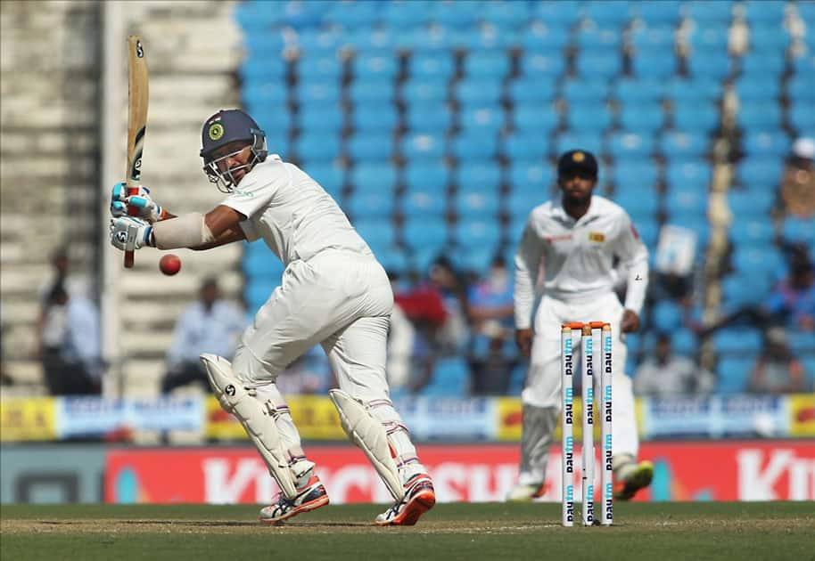India's Cheteshwar Pujara in action on Day 2 of the second test match between India and Sri Lanka at Vidarbha Cricket Association Stadium in Nagpur.