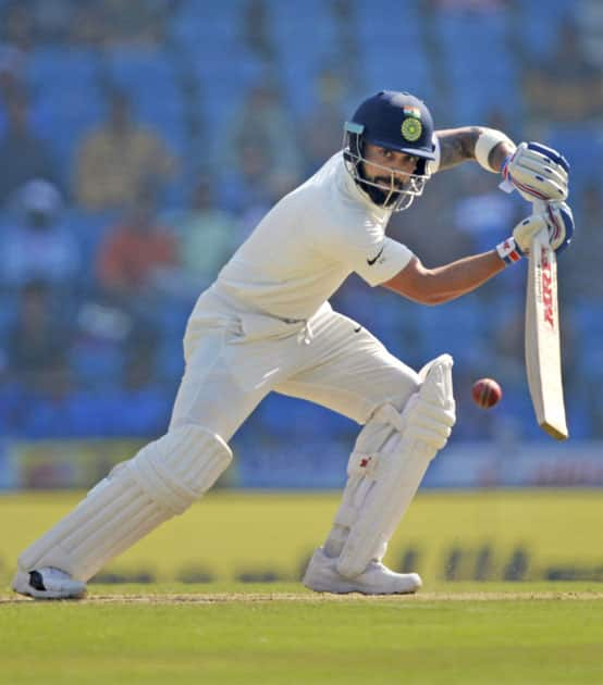Indian captain Virat Kohli plays a shot on the third day of 2nd test match against Sri Lanka in Nagpur.