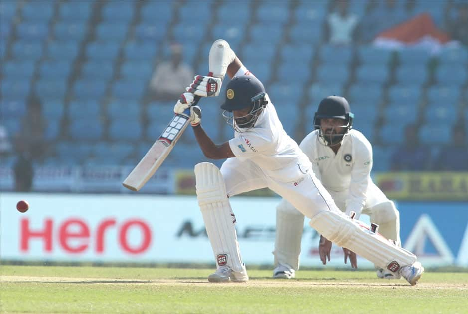 Lahiru Thirimanne of Sri Lanka in action on Day 4 of the second test match between India and Sri Lanka at Vidarbha Cricket Association Stadium in Nagpur.