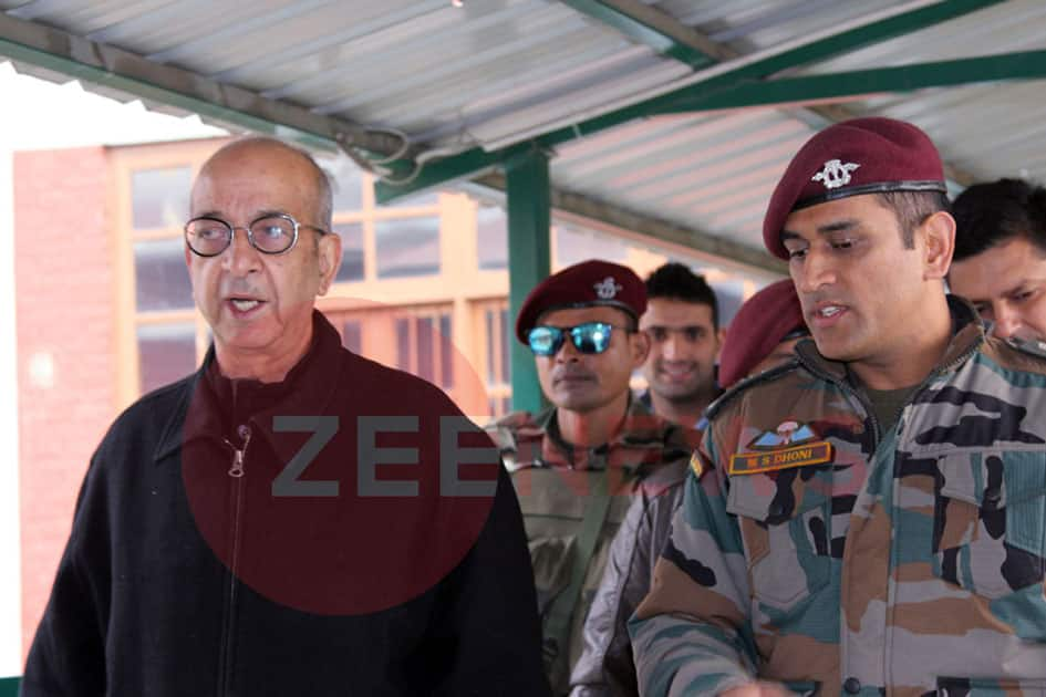 M S Dhoni, Great Indian cricketer and Honorary Lt Col of Indian Army visited the Delhi Public School Srinagar today and interacted with teachers and students of the school.