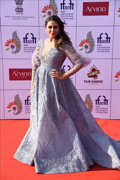 Actress Huma Qureshi at the red carpet of closing ceremony of 48th International Film Festival of India in Panaji, Goa.