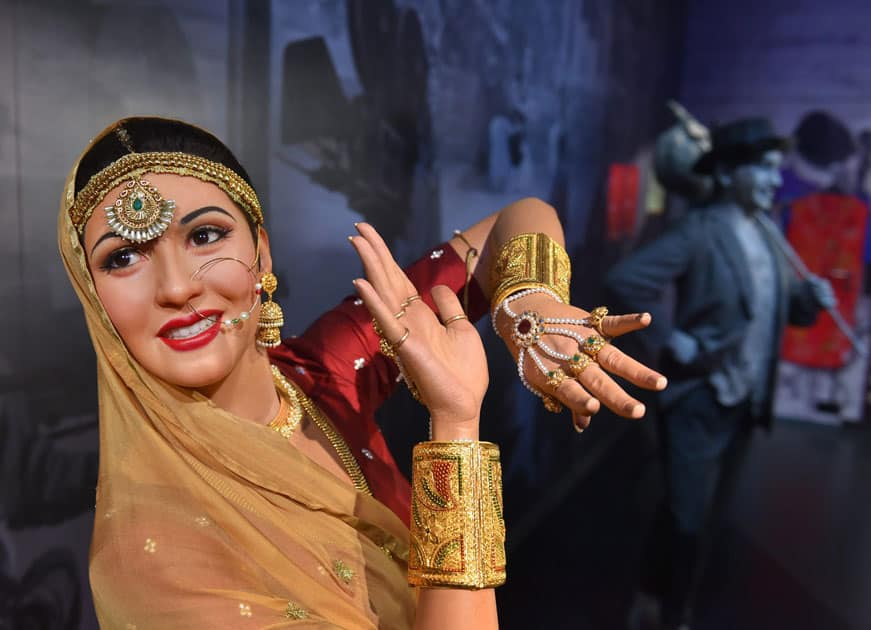Wax figures of Bollywood stars Madhubala, Raj Kapur displayed at Madame Tussauds Wax Museum, during a press preview in New Delhi.
