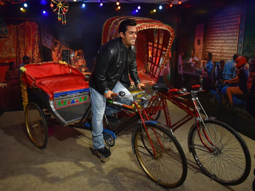 Wax figure of Bollywood star Salman Khan displayed at Madame Tussauds Wax Museum, during a press preview in New Delhi.