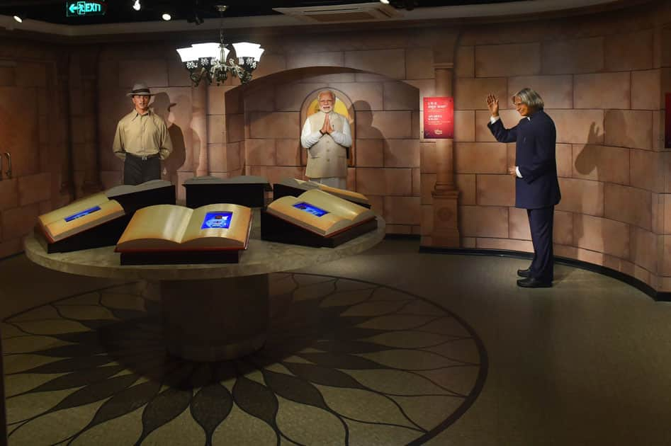 Wax figures of Prime Minister Narendra Modi, Shaheed Bhagat Singh and former President APJ Abdul Kalam displayed at Madame Tussauds Wax Museum, during a press preview in New Delhi.