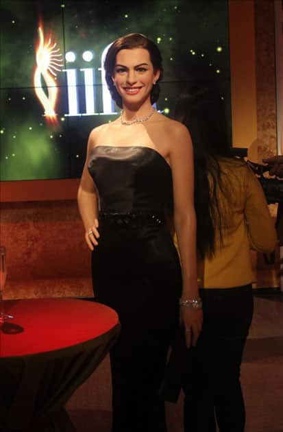 A wax statue of actress Anne Hathaway at Madame Tussauds Wax Museum in New Delhi.