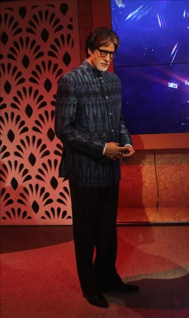 A wax statue of actor Amitabh Bachchan at Madame Tussauds Wax Museum in New Delhi.
