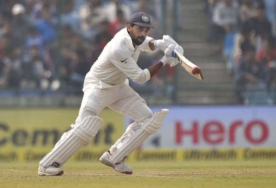 Murali Vijay plays a shot against Sri Lanka during the first day of the third cricket test match at Feroz Shah Kotla, in New Delhi.