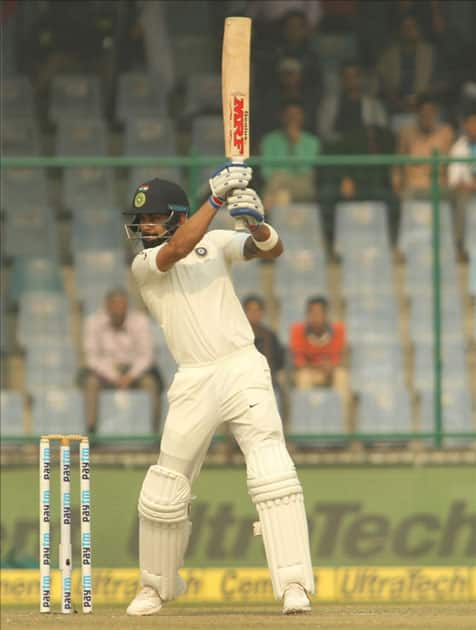Indian skipper Virat Kohli in action on Day 1 of the third test match between India and Sri Lanka at Feroz Shah Kotla Stadium in New Delhi.