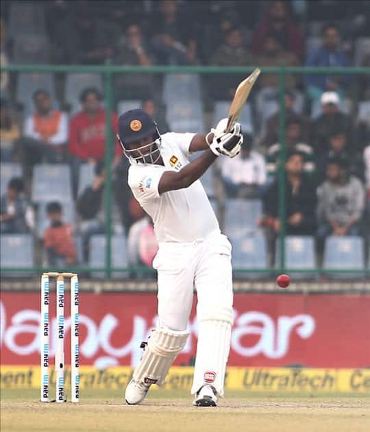 Sri Lanka's Angelo Mathews in action on Day 2 of the third test match between India and Sri Lanka at Feroz Shah Kotla Stadium in New Delhi.