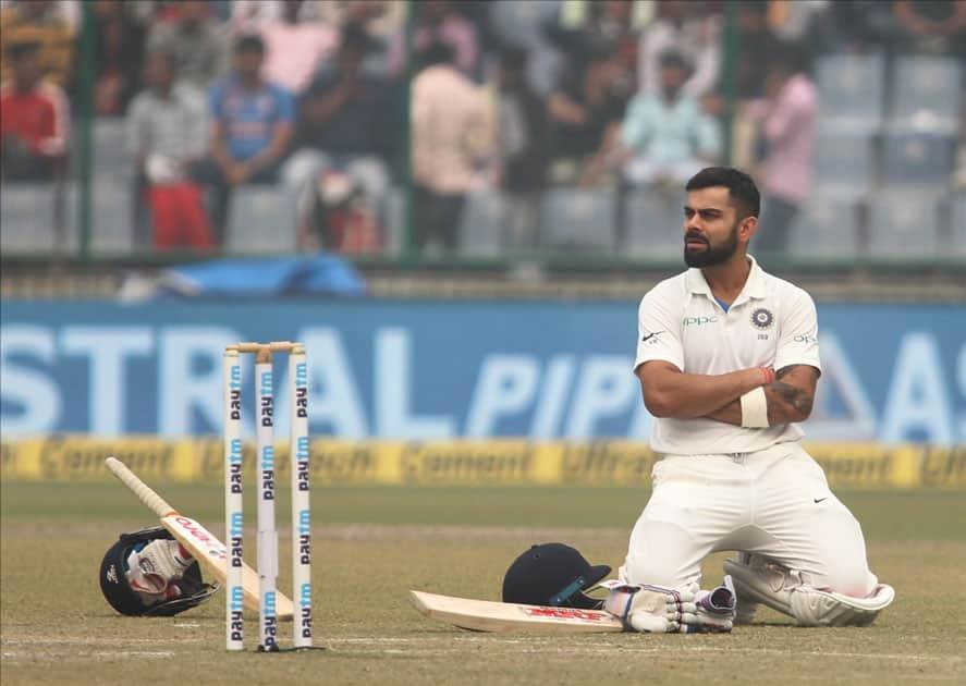 Indian skipper Virat Kohli during Day 2 of the third test match between India and Sri Lanka at Feroz Shah Kotla Stadium in New Delhi.