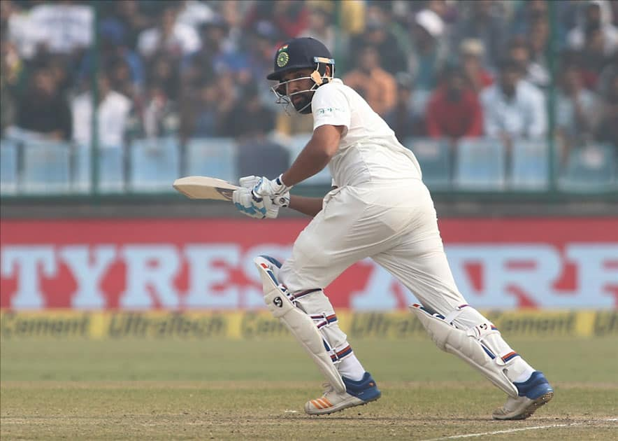 India's Rohit Sharma during Day 2 of the third test match between India and Sri Lanka at Feroz Shah Kotla Stadium in New Delhi.