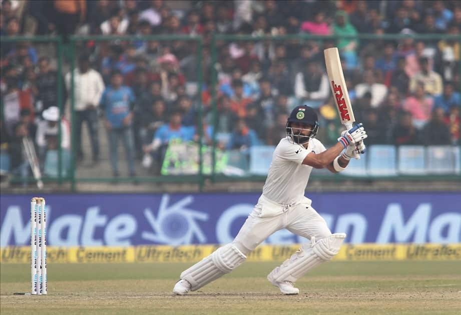 Indian skipper Virat Kohli in action on Day 2 of the third test match between India and Sri Lanka at Feroz Shah Kotla Stadium in New Delhi.
