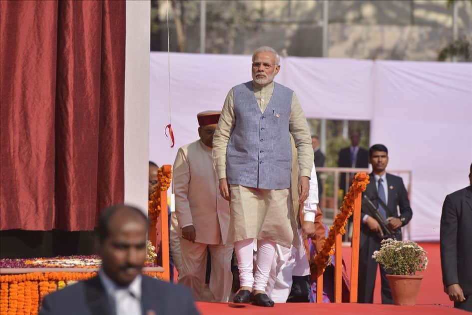 Prime Minister Narendra Modi arrives to inaugurate Dr. Ambedkar International Centre in New Delhi.