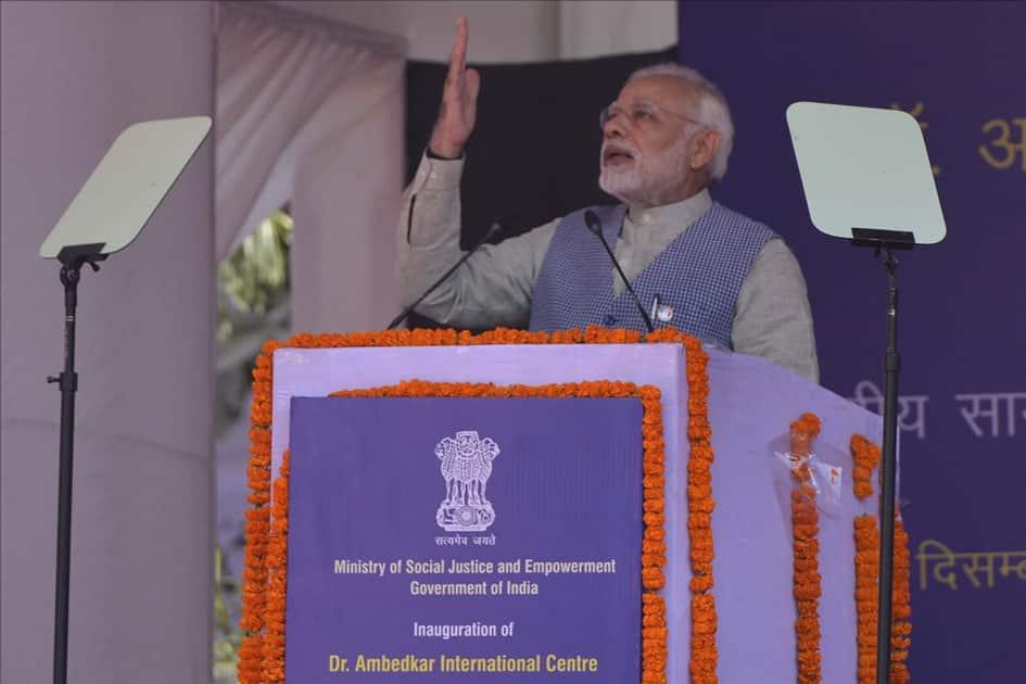 Prime Minister Narendra Modi addresses at the inauguration of Dr. Ambedkar International Centre in New Delhi.