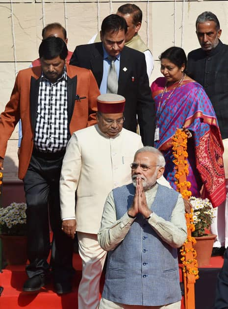 Prime Minister Narendra Modi with Union Minister for Social Justice and Empowerment, Thaawar Chand Gehlot and Moses Ramdas Athawale & Krishan Pal at the dedication of Dr. Ambedkar International Centre to the nation, in New Delhi.