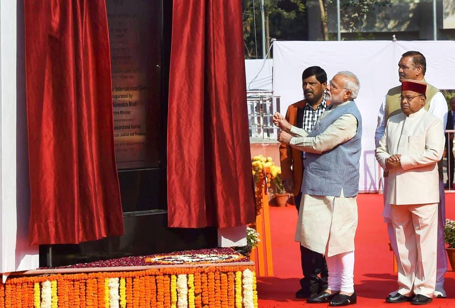 Prime Minister Narendra Modi inaugurates Dr Ambedkar International Centre in New Delhi.
