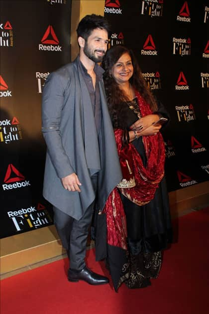Actor Shahid Kapoor with mother Neelima Azeem at the Reebok`s Fit To Fight awards ceremony in Mumbai.