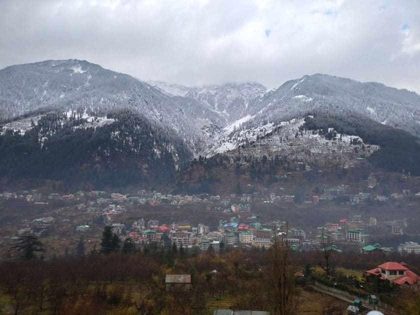 Solang valley in Manali receives fresh snowfall, Himachal Pradesh.