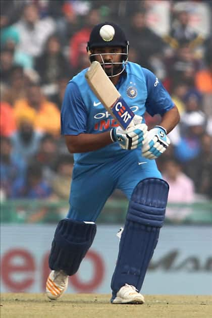 Indian captain Rohit Sharma in action on the 2nd One Day International (ODI) match between India and Sri Lanka at Punjab Cricket Association IS Bindra Stadium in Mohali.