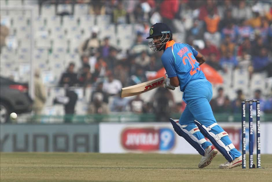 India's Shikhar Dhawan in action on the 2nd One Day International (ODI) match between India and Sri Lanka at Punjab Cricket Association IS Bindra Stadium in Mohali.