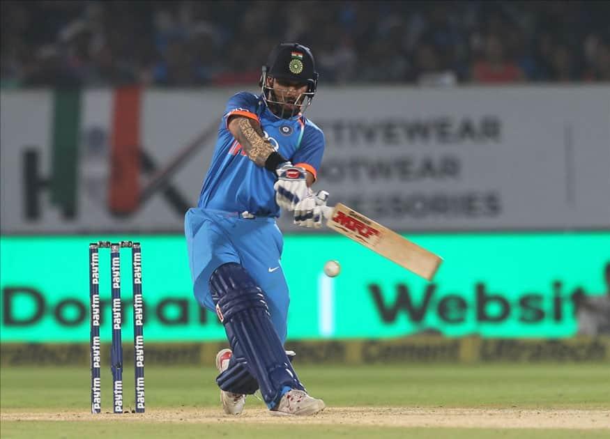 Shikhar Dhawan of India in action during the third ODI between India and Sri Lanka at Dr. Y.S. Rajasekhara Reddy ACA-VDCA Cricket Stadium in Visakhapatnam.