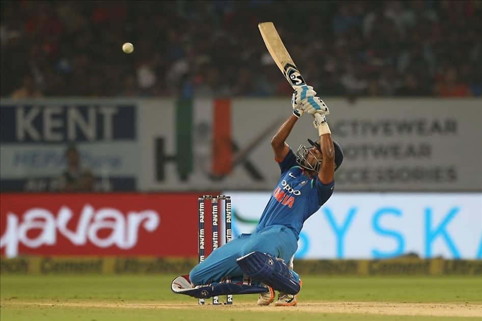 India's Shreyas Iyer in action during the third ODI between India and Sri Lanka at Dr. Y.S. Rajasekhara Reddy ACA-VDCA Cricket Stadium in Visakhapatnam.