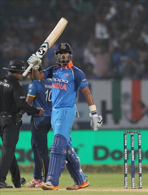 India's Shreyas Iyer celebrates his half-century during the third ODI between India and Sri Lanka at Dr. Y.S. Rajasekhara Reddy ACA-VDCA Cricket Stadium in Visakhapatnam.