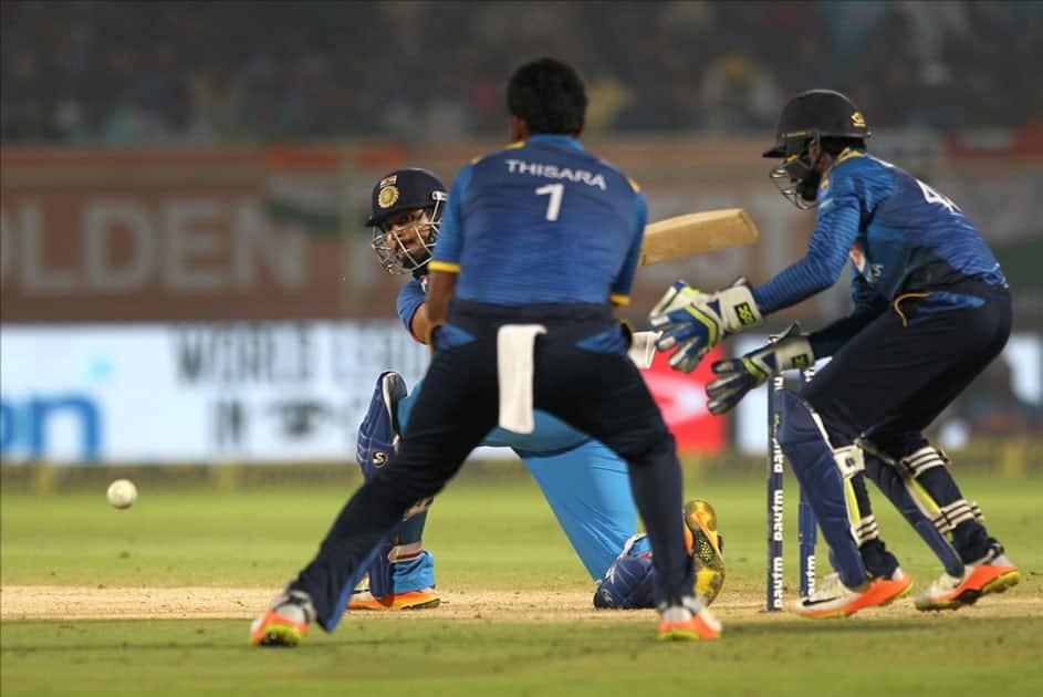 Shreyas Iyer of India in action during the third ODI between India and Sri Lanka at Dr. Y.S. Rajasekhara Reddy ACA-VDCA Cricket Stadium in Visakhapatnam.