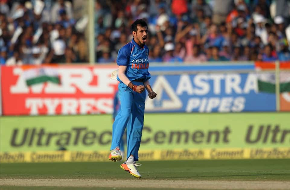 India's Yuzvendra Chahal celebrates fall of a wicket of Sri Lanka's Angelo Mathews during the third ODI between India and Sri Lanka at Dr. Y.S. Rajasekhara Reddy ACA-VDCA Cricket Stadium in Visakhapatnam.