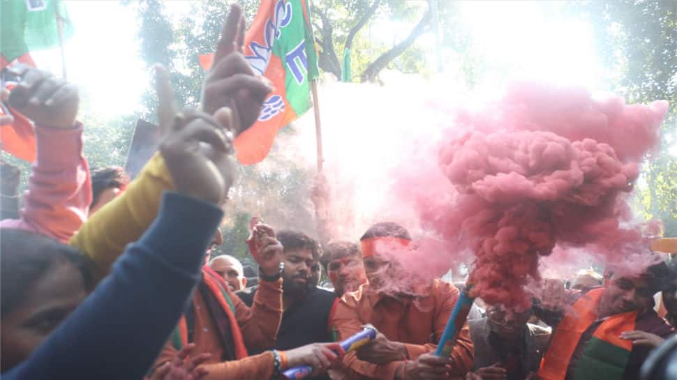 BJP workers celebrate the party's performance in Himachal Pradesh and Gujarat assembly elections in New Delhi