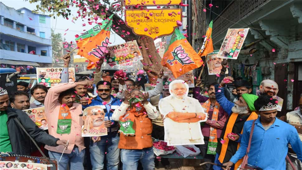 The scenes were similar in UP's Varanasi where supporters of the party came out in large numbers to rejoice the electoral result