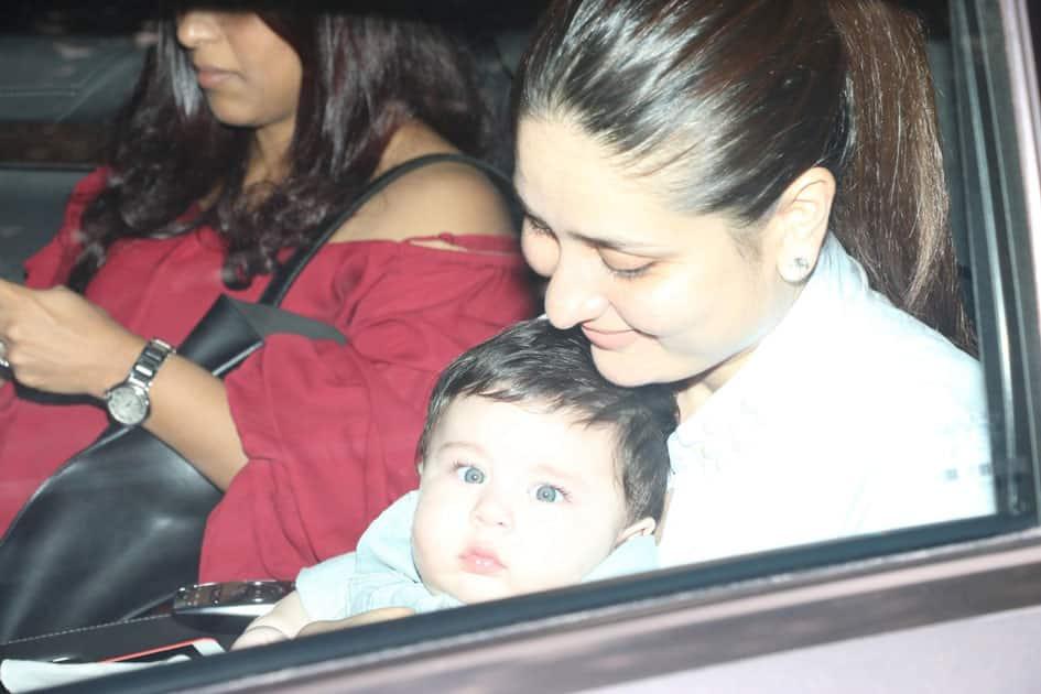 Actress Kareena Kapoor with her son Taimur Ali Khan during Tussar Kapoor son Laksshay`s first birthday party in Mumbai.