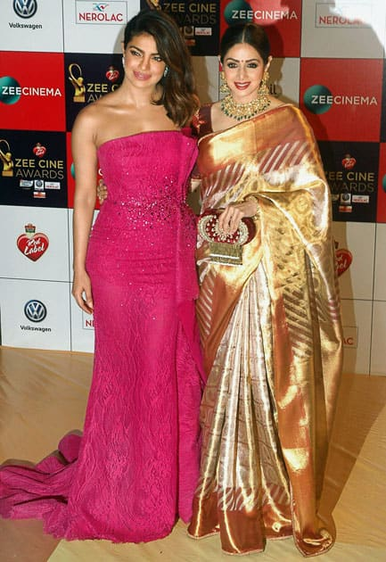 Bollywood actreses Sridevi and Priyanka Chopra arrive to attend the ''Zee Cine Awards 2018'' event in Mumbai.