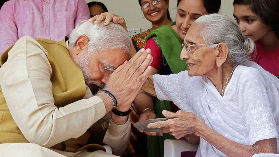 In Gujarat, PM Narendra Modi meets his 97-year-old mother Hiraben