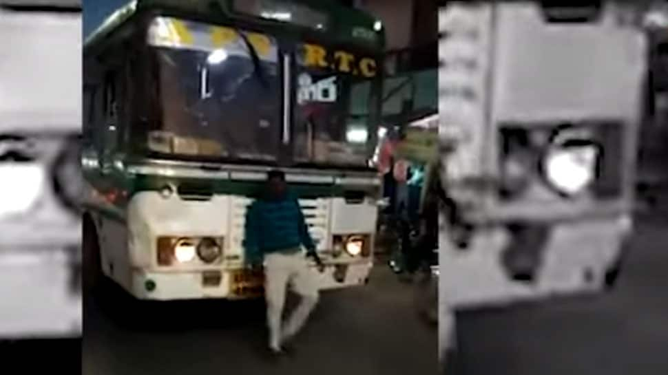 WATCH: Drunken man tries to stop bus in Andhra's Kurnool