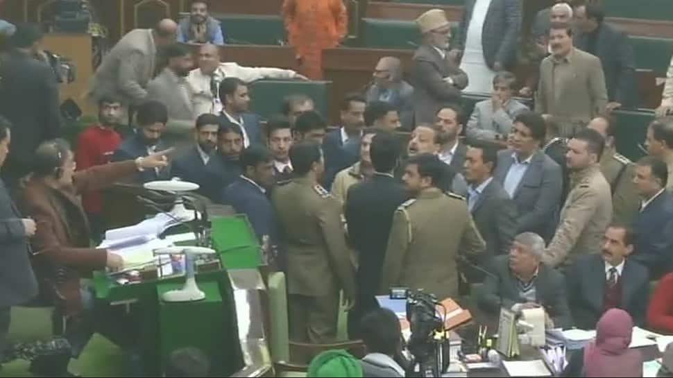 Pandemonium in J&K Assembly; opposition protests, raises slogans over civilian killings, Kashmir situation