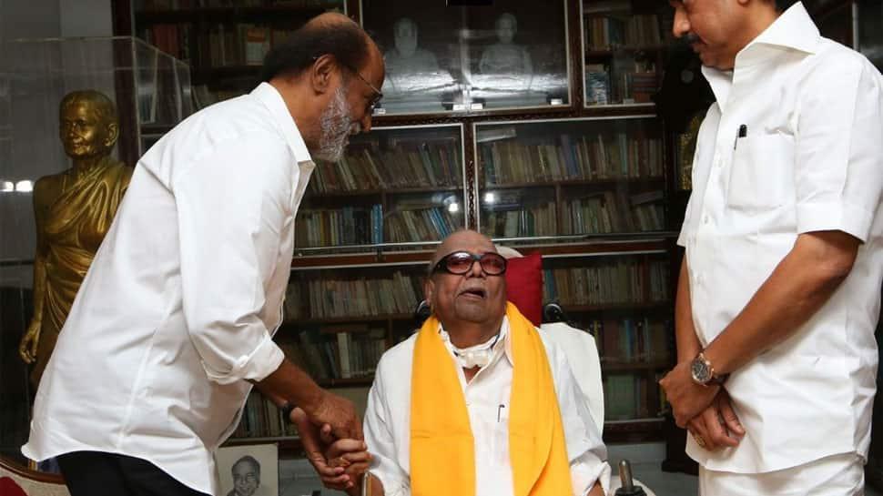 Rajinikanth meets Karunanidhi in Chennai, seeks DMK chief's blessings