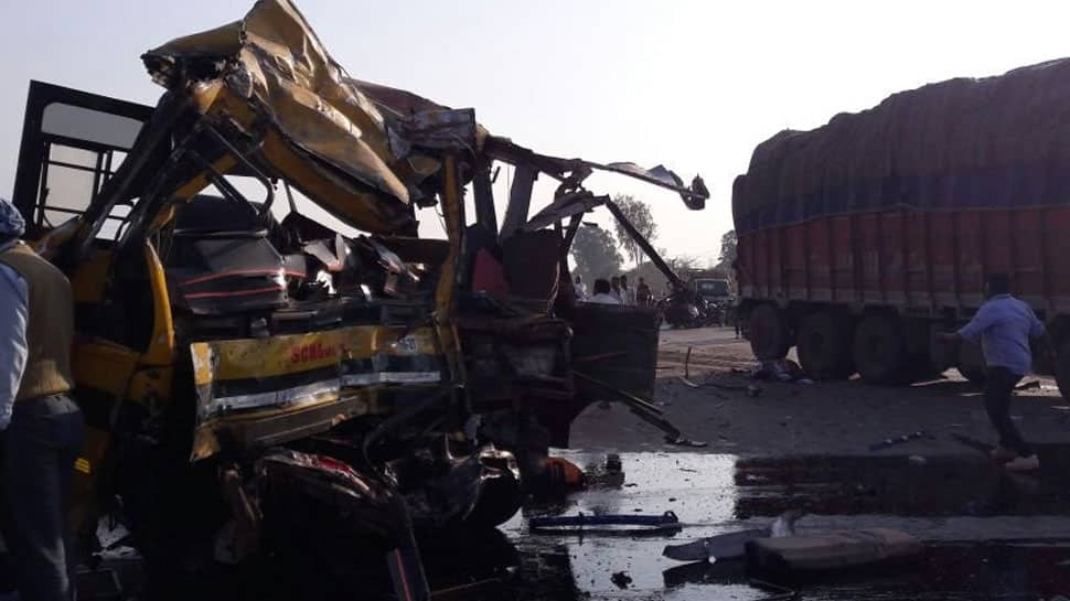 5 students, driver dead after DPS school bus collides with truck in Indore