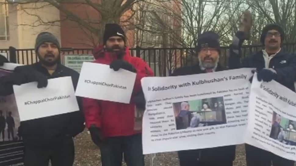 Kulbhushan's family mistreated: NRIs and Baloch activists stage protest at Pak embassy in Washington