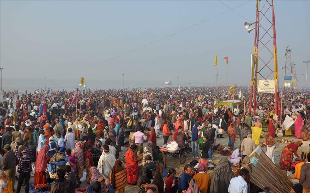 Devotees throng Gangasagar Mela on Makar Sankranti at Sagar Island, some 160 kms south of Kolkata.
