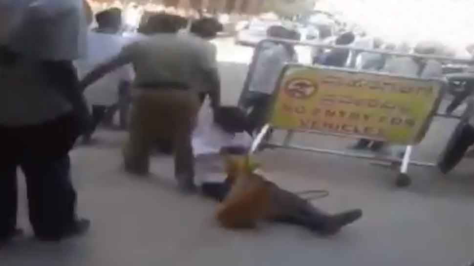 Cop drags old-age devotee out of temple in Karnataka, video sparks outrage