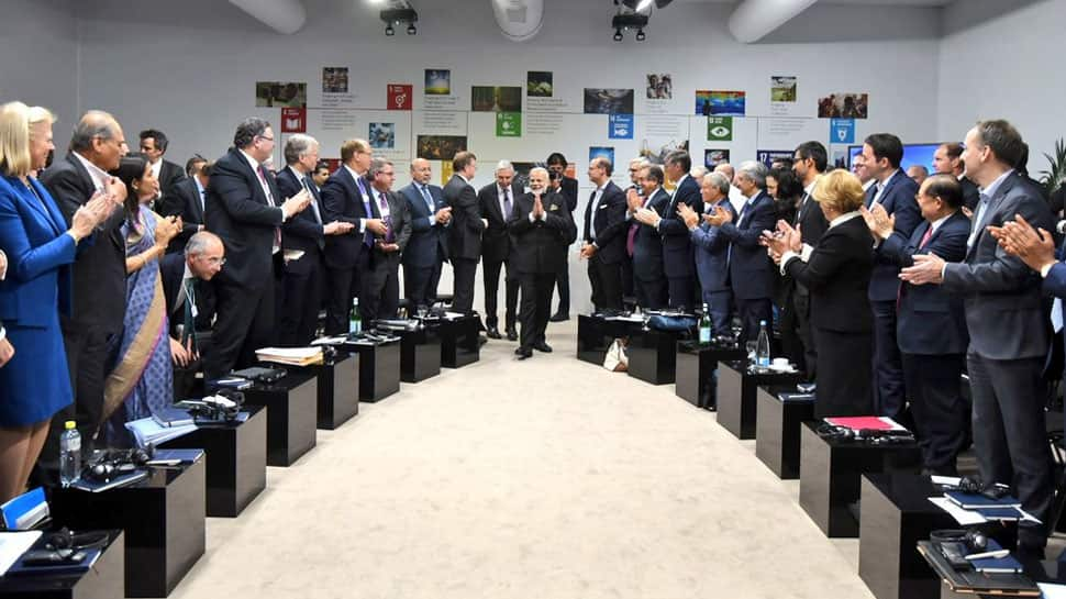 PM Modi meets top global CEOs at International Business Council event in Davos