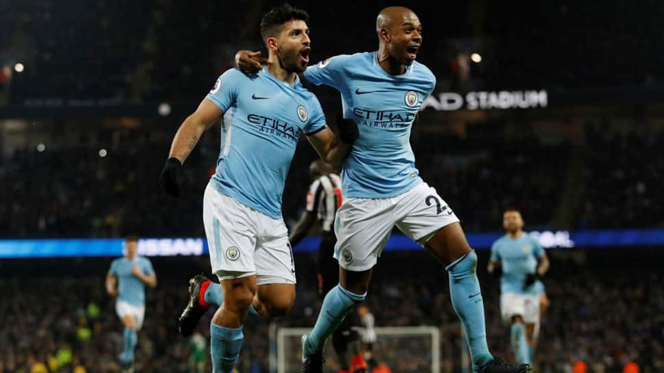 'Authentic legend' Aguero hits four as Manchester City thrash Leicester